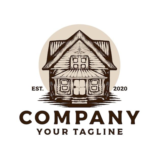 Houten huis vintage logo Premium Vector