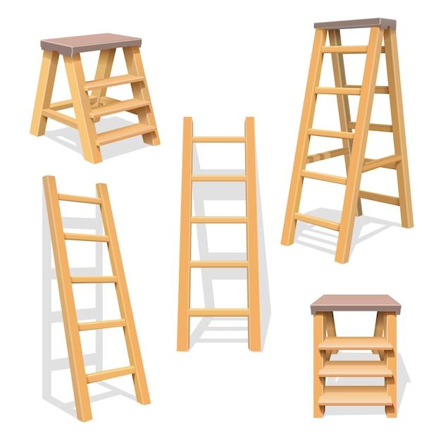 Houten huishoudstappen. geïsoleerde houten ladder vectorreeks. houten ladderconstructie Premium Vector