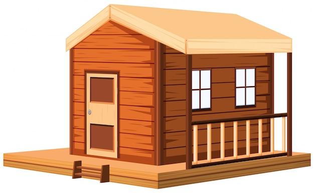 Houten huisje in 3d Gratis Vector