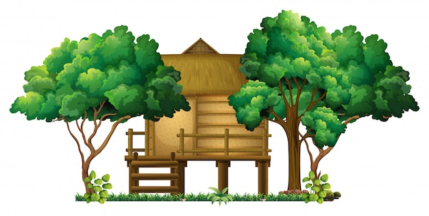 Houten hut in het bos Gratis Vector