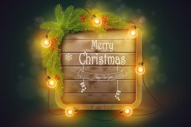 Houten kerstbord dennentakken, gloeilampen en vakantie wensen. Premium Vector