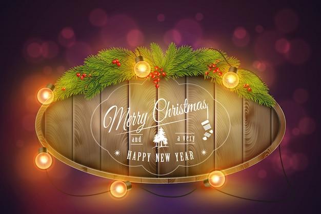 Houten kerstbord met dennentakken, gloeilampen en vakantie wensen ... Premium Vector