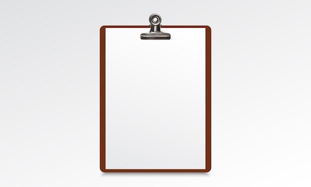 Houten klembord met blanco papier blad Premium Vector