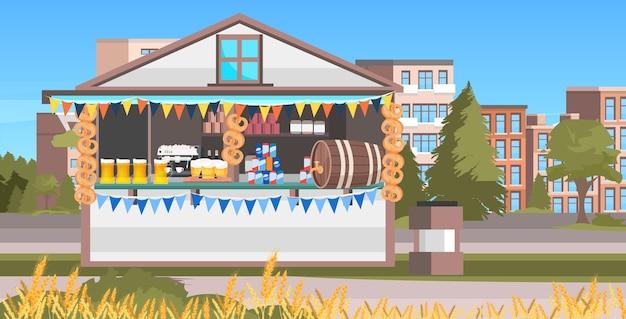Houten kraam met bier oktoberfeestfeest Premium Vector