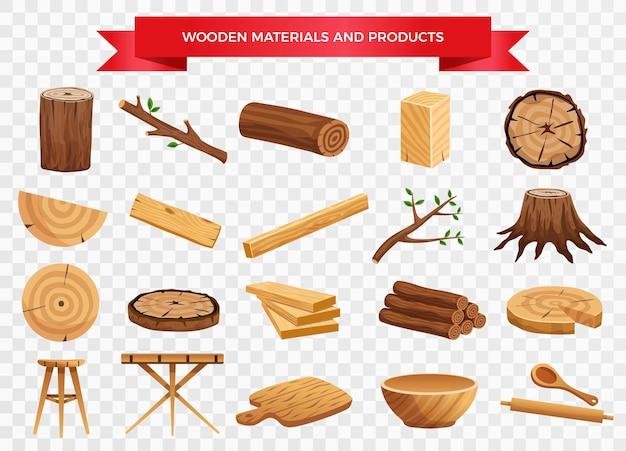Houten materiaal en vervaardigde producten ingesteld met boomstam takken planken keukengerei transparant Gratis Vector