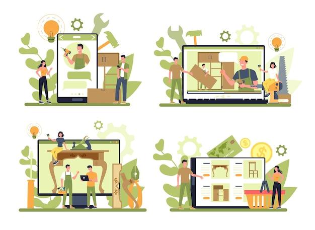 Houten meubelmaker of ontwerper online service of platform op verschillende apparaatconceptenset Premium Vector
