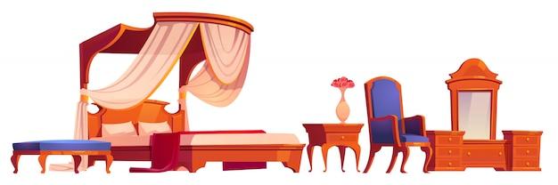 Houten meubilair voor oude victoriaanse slaapkamer Gratis Vector