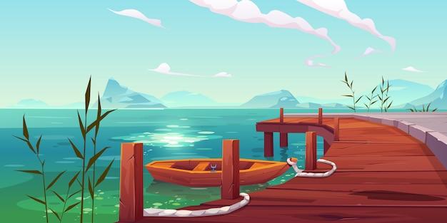 Houten pier en boot op rivier natuurlijke landschap Gratis Vector