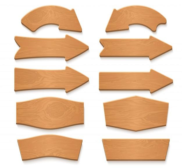 Houten pijluithangborden en houten vector de beeldverhaalinzameling van tekens. houten bord van het uithangbord, houten voorziet pijlillustratie van wegwijzers Premium Vector