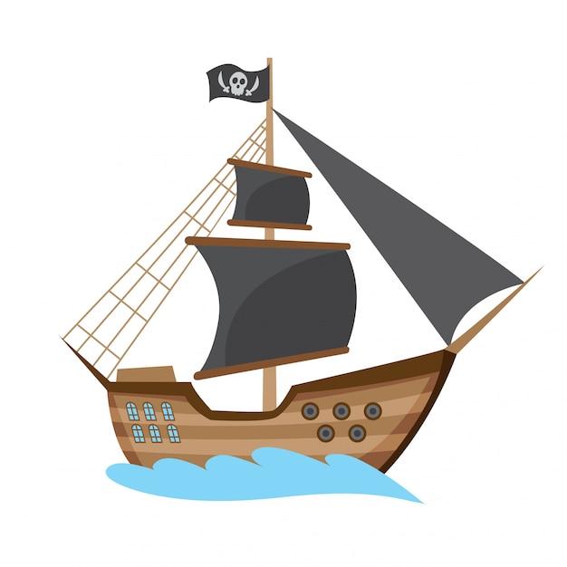 Houten piraat boekanier filibuster zeerover zee hond schip pictogram spel Premium Vector