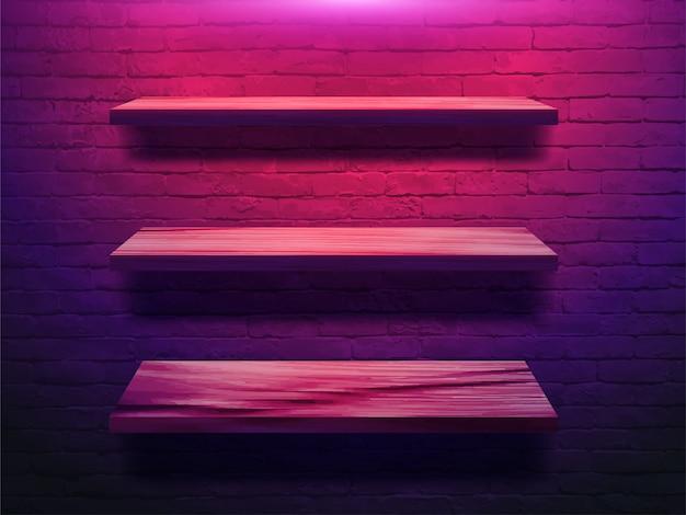 Houten plank op bakstenen muur Premium Vector