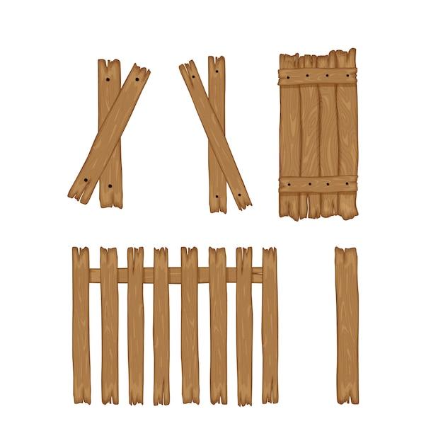 Houten plankomheining op een witte achtergrond voor bouw en. cartoon stijl. illustratie. Premium Vector