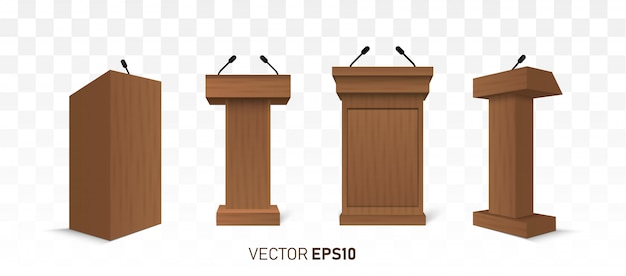 Houten podium tribune rostrum stand met microfoons geïsoleerd Premium Vector