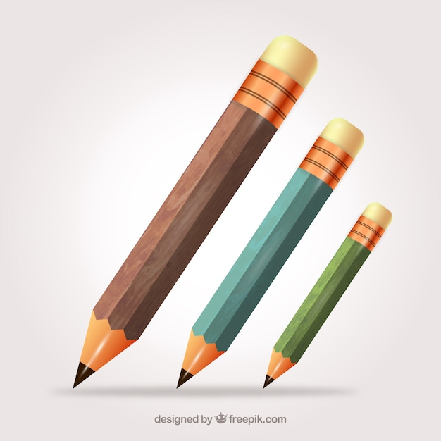 Houten potloden collectie Gratis Vector