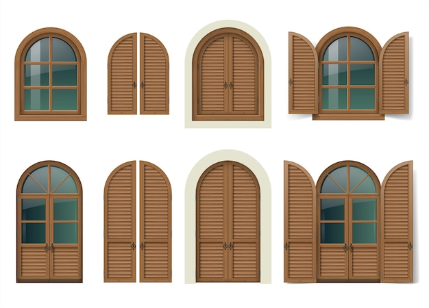 Houten raam en deuren met luiken Premium Vector