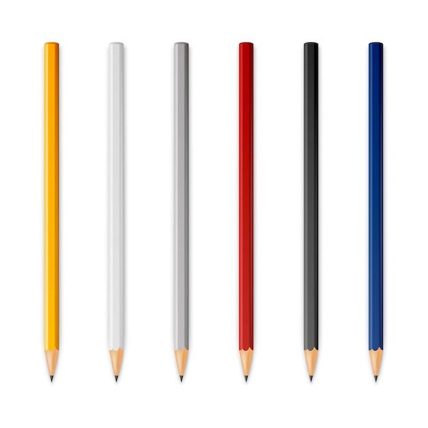 Houten scherpe potloden Premium Vector