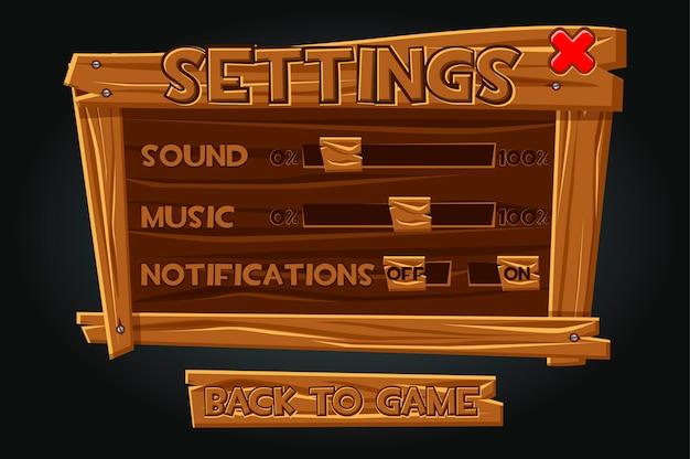 Houten spelgebruikersinterface, instellingenvenster. instellingen op het oude bord voor het afspelen van geluid, melding, muziek. Premium Vector