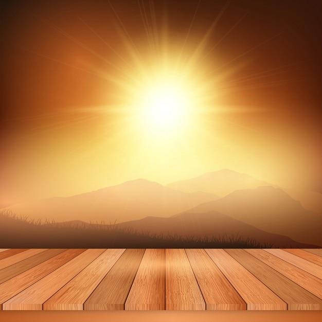 Houten tafel kijkt uit naar een weergave van een zonnig landschap Vector   Gratis Download