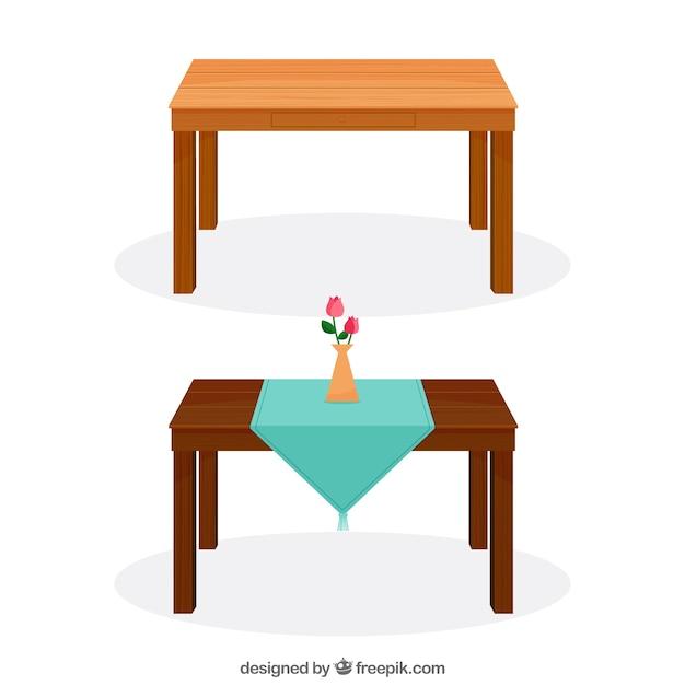 Houten tafels Gratis Vector