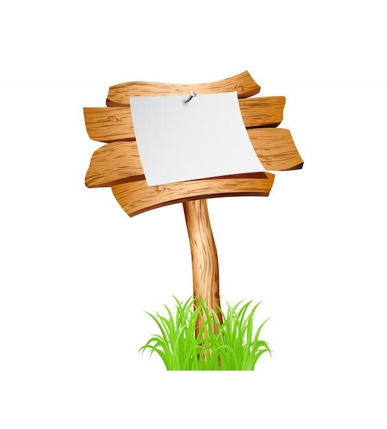 Houten teken in gras Premium Vector