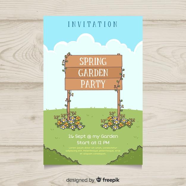 Houten teken voorjaar partij poster sjabloon Gratis Vector