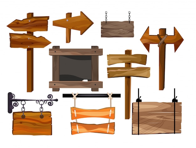 Houten tekens geplaatst illustratie Gratis Vector