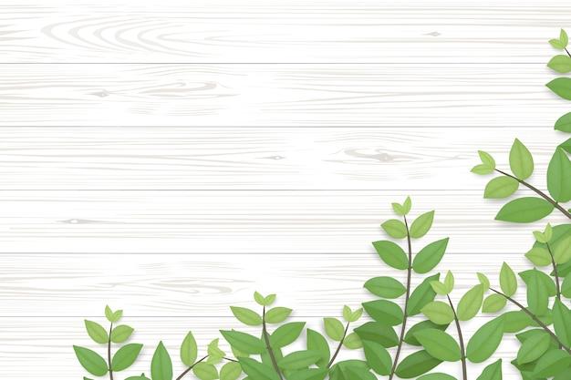 Houten textuurachtergrond en groene bladeren Premium Vector