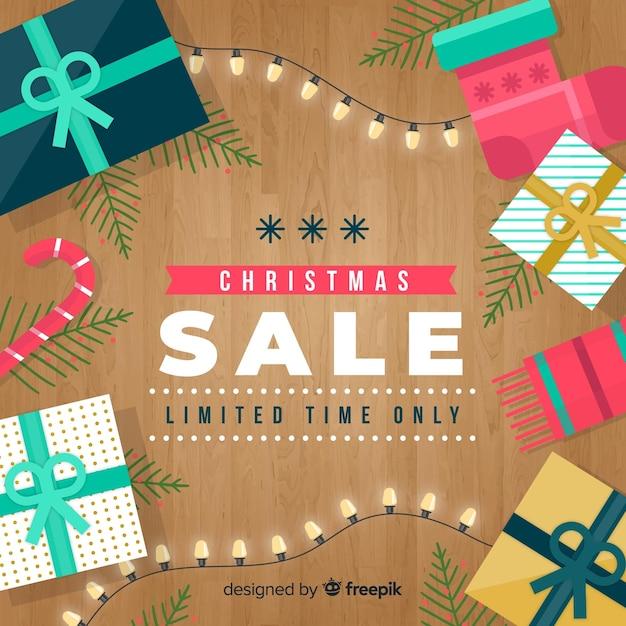 Houten vloer kerstmis verkoop achtergrond Gratis Vector