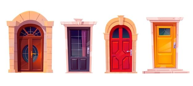 Houten voordeuren met stenen frame geïsoleerd op een witte achtergrond Gratis Vector