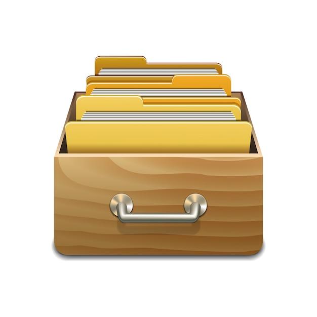 Houten vulkast met gele mappen. geïllustreerd concept van database organiseren en onderhouden. geïsoleerd Premium Vector