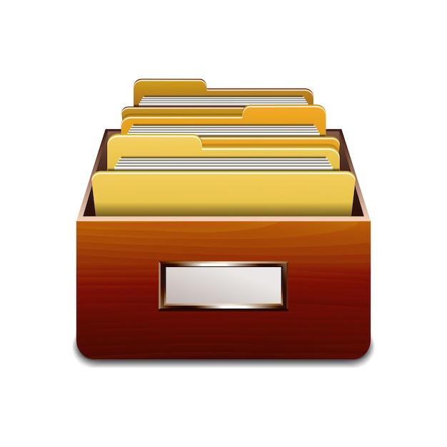 Houten vulkast met gele mappen. geïllustreerd concept van database organiseren en onderhouden. illustratie op witte achtergrond Premium Vector