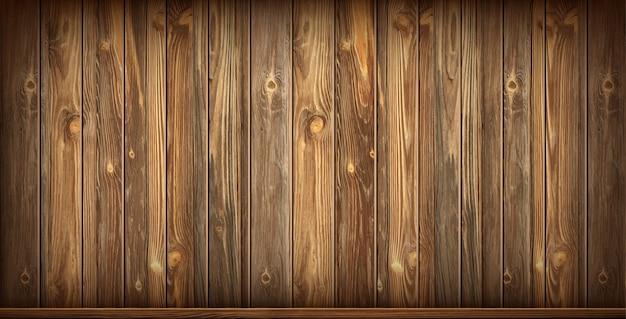 Houten wand en vloer met verouderd oppervlak, realistisch Gratis Vector