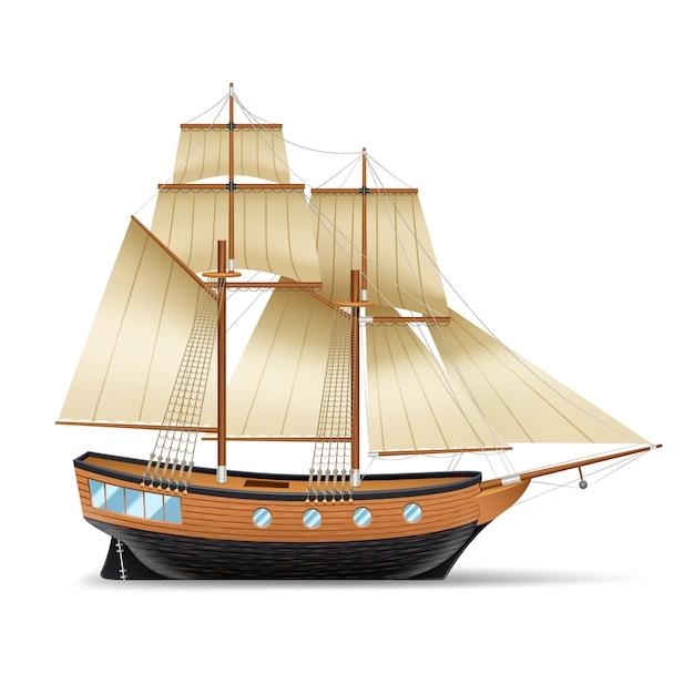 Houten zeilschip Gratis Vector