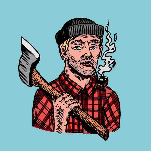 Houthakker met een bijl in een rood shirt. feller of houthakker met een pijp. hand getekende vintage retro logger karakter schets Premium Vector