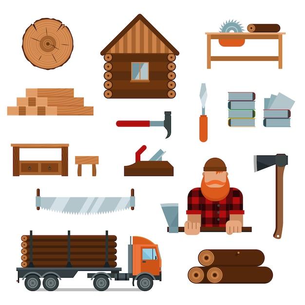 Houthakker stripfiguur met houthakker gereedschap elementen vector illustratie Premium Vector