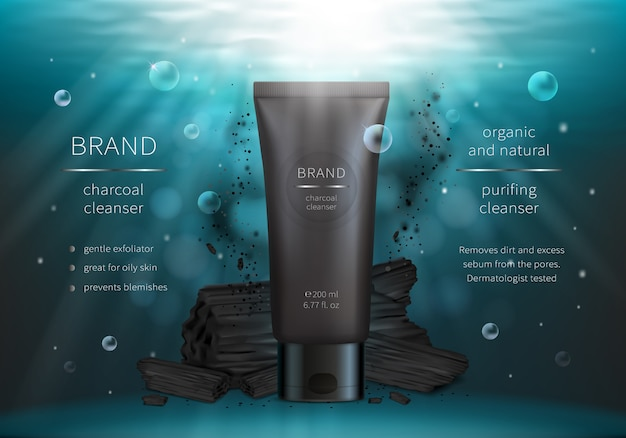 Houtskool gezicht wassen vector realistische cosmetica Gratis Vector
