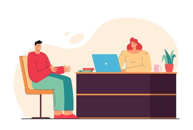 Hr-vrouw en kandidaat-man van de baan bijeen voor een interview, praten in kantoor. cartoon afbeelding Gratis Vector