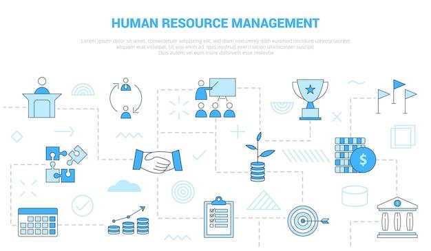 Hrm human resource management concept met pictogrammenset sjabloon banner Premium Vector