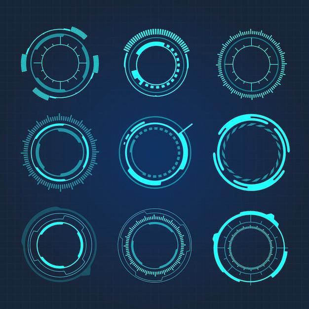 Hud circulaire hi-tech futuristische gebruikersinterface vectorillustratie Premium Vector