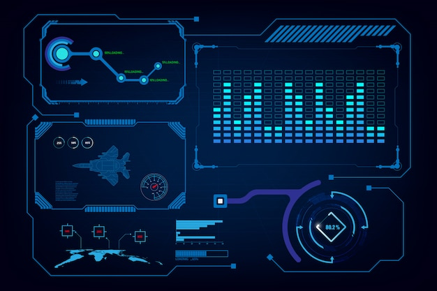 Hud gui interface virtuele kunstmatige intelligentie sjabloon Premium Vector