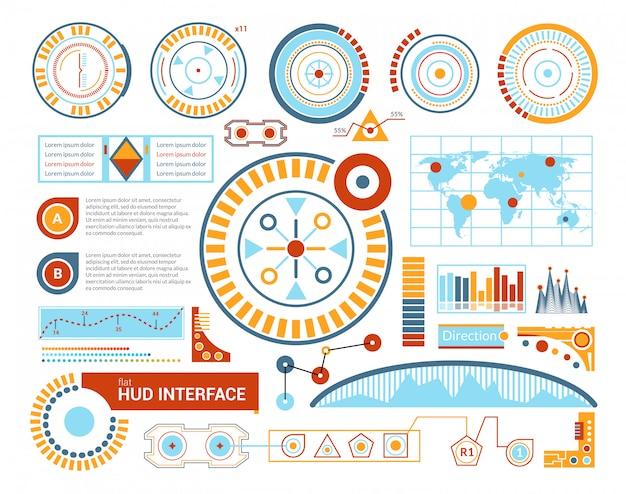 Hud interface flat illustratie Gratis Vector
