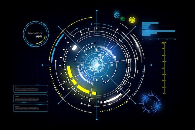 Hud interface gui futuristische technologie netwerken achtergrond Premium Vector