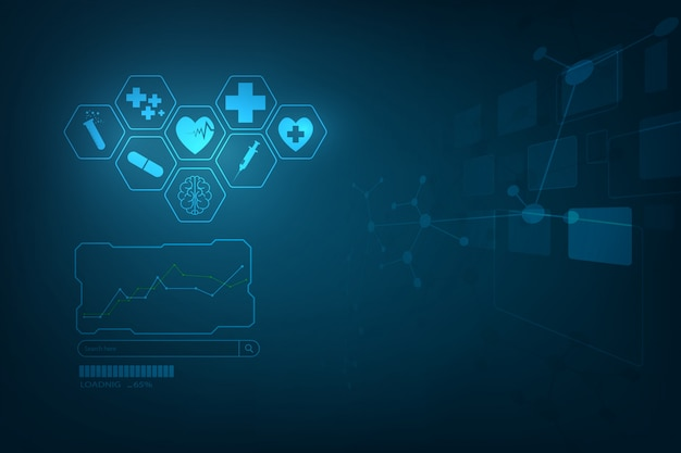 Hud interface virtuele hologram toekomstige systeem gezondheidszorg innovatie achtergrond Premium Vector