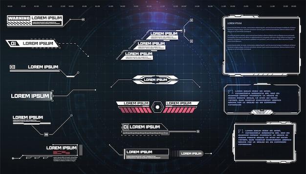 Hud, ui, gui futuristische schermelementen van de gebruikersinterface ingesteld. Premium Vector