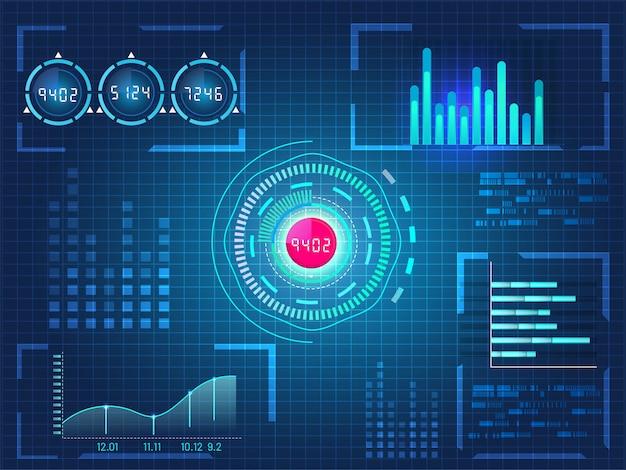 Hud ui voor zakelijke app, futuristische gebruikersinterface hud en infographic elementen op blauwe raster achtergrond. Premium Vector