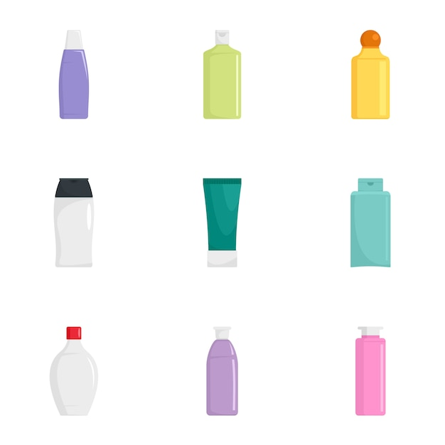 Huid zorg fles pictogrammenset, vlakke stijl Premium Vector