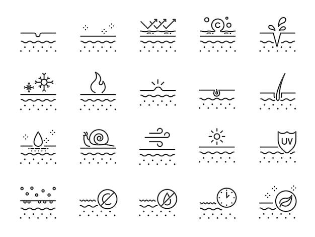 Huidlijn pictogramserie. Premium Vector