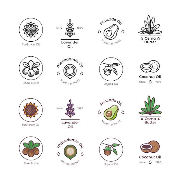 Huidverzorging en schoonheid biologische cosmetica olielijn en kleurrijke emblemen en logo's Premium Vector