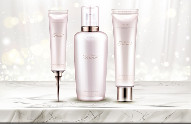 Huidverzorging schoonheid productlijn op marmeren tafelblad Gratis Vector