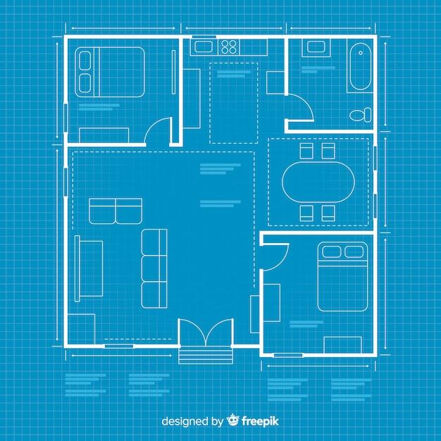 Huis arhitectural plan met blauwdruk Gratis Vector